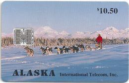 Alaska - Dogs Mushing At Mount McKinley - 10.50$, SC7, 03.1994, 5.000ex, Mint - Phonecards
