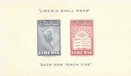 Liberia,  Scott 2016 # C66a  Issued 1950,  S/S Of 2,  MNH,  Cat $ 1.75,  Literacy - Liberia