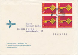 Germany Cover Sent To Switzerland Düsseldorf 12-9-1968 With A Block Of 4 EUROPA CEPT Stamps - [7] République Fédérale