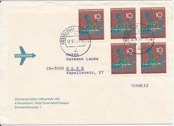 Germany Cover Sent To Switzerland Düsseldorf 12-9-1968 With A Block Of 4 + Single Stamp - [7] République Fédérale
