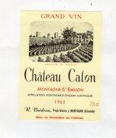 Chateau Calon 1961 - Montagne St Emilion - Bordeaux