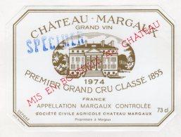"""Chateau Margaux 1974 - Margaux - Surcharge """" Spécimen """" - Bordeaux"""