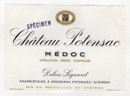 """Chateau Potensac 1976 - Médoc - Surcharge """" Spécimen """" - Bordeaux"""