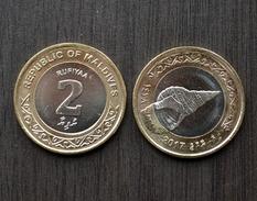 """MALDIVES MALEDIVEN 2 Rufiyaa 2017 """"sea Shell"""" UNC COIN CURRENCY ASIA >First Bimetallic Maldivean Coin - Maldives"""