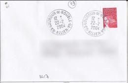ALLIER-03- LOUROUX DE BOUBLE GA   TàD De Type A9  De 2004 - Storia Postale