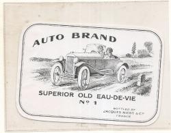 étiquette - 1920* - Auto Brand Superior Eau De Vie  Jacques NICOT COGNAC -- RARE ---- - Oldtimers