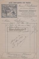 75 17 028 PARIS SEINE 1897 AUX ENFANTS DU PARC Chaussures A. GIBAULT Bd Malesherbes Succ L. GUILLAUMOT - 1800 – 1899
