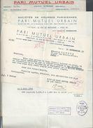 LOT DE 3 LETTRES PARIS MUTUEL URBAIN PARIS RUE DE PENTHIÈVRE 1952 : - Equitation