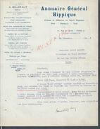 LETTRE ANNUAIRE GENERAL HIPPIQUE PLAT OBSTACLE TROT PARIS RUE DU CAIRE 1928 : - Equitation