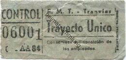 Spanien - Madrid - E.M.T. Tranvias - Trayecto Unico - Strassenbahn Fahrschein 50er Jahre - Europe