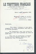 LETTRE AVEC TAMPON LE TROTTEUR FRANÇAIS PARIS RUE DE MONTYON 1950 : - Equitation
