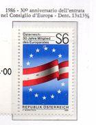 PIA  - AUSTRIA - 1986 : 30° Anniversario Dell'ingresso Nel Consiglio D' Europa  -  (Yv  1671) - 1945-.... 2ª República