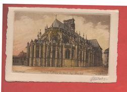 "2126 - NEVERS - Cathédrale Saint Cyr - Abside -  ""Eau Forte Originale"" -  G. Schlumberger -  Recto-verso) - Nevers"