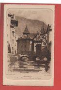 2128 - ANNECY - Le Pont Morens Et L'Ile Sur Le Thiou -  Ch.Jaffeux - Eau Forte -  Recto-verso) - Annecy