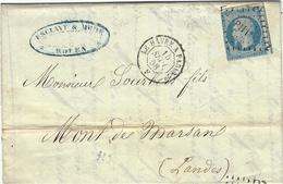 1858- Lettre De Rouen ( S. Mar. ) Cad D'Ambulant LE HAVRE A PARIS 2° F  De Jour Affr. N°14 Oblit. Los P H 1° - 1849-1876: Période Classique