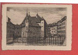 2132 - ANNECY - Le Thiou Et Le Palais De L'Ile - Eau Forte Originale - G. Schlumberger - Recto-verso) - Annecy