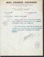 LETTRE MIDI FRANCE COURSES TOULOUSE 1950 : - Equitation