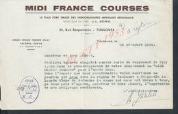 LETTRE MIDI FRANCE COURSES TOULOUSE 1952: - Equitation