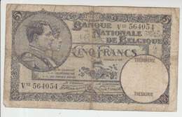 Belgium 5 Francs (1931) Pick 97b VG - [ 2] 1831-... : Belgian Kingdom