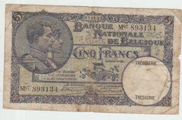 Belgium 5 Francs (1927) Pick 97b AVG - [ 2] 1831-... : Belgian Kingdom