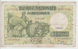 Belgium 50 Francs (1942) Pick 106 AFine - [ 2] 1831-... : Regno Del Belgio