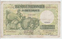 Belgium 50 Francs (1942) Pick 106 AFine - 50 Francos-10 Belgas