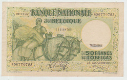 Belgium 50 Francs (1942) Pick 106 VFine - 50 Francos-10 Belgas
