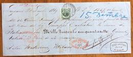 MARCA DA BOLLO SU CAMBIALE LUGANO 1869  DI 1357 LIR ITALIANE.  VARIE FIRME    DOCUMENTO ORIGINALE - Cambiali