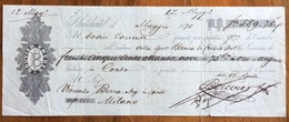 MARCA DA BOLLO SU CAMBIALE BOUVIER FRERES NAUCHATE 1878 DI 589,75 FR. ORO ARGENTO   VARIE FIRME    DOCUMENTO ORIGINALE - Cambiali