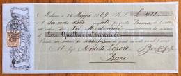 MARCA DA BOLLO SU CAMBIALE PIETRO ZERBI MILANO 1869 DI 411 LIRE   VARIE FIRME    DOCUMENTO ORIGINALE - Cambiali