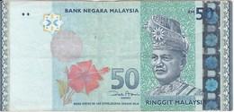 BILLETE DE MALASIA DE 50 RINNGIT DEL AÑO 2009 (BANKNOTE) PALMERA-FLOR-FLOWER - Malasia