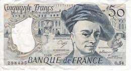 BILLETE DE FRANCIA DE 50 FRANCOS DE QUENTIN DE LA TOUR DEL AÑO 1988 SERIE O (BANKNOTE) - 1962-1997 ''Francs''