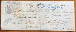 """MARCA DA BOLLO SU CAMBIALE( 1868) MILANO 1870 DI 600  """"con Valuta Avuta In MercI""""   VARIE FIRME    DOCUMENTO ORIGINALE - Cambiali"""