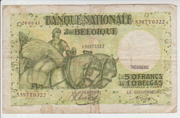 Belgium 50 Francs (1943) Pick 106 AFine - 50 Francos-10 Belgas