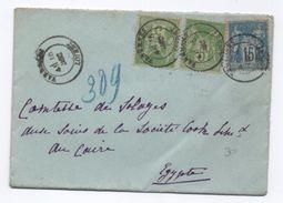 ENVELOPPE De VARENNES CHANGY (LOIRET) Avec TYPE SAGE Pour L' EGYPTE - Postmark Collection (Covers)