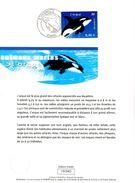 """FRANCE 2002 : Encart 1er Jour """" L'ORQUE """" N° YT 3487. Voir Les 2 Scans. - Mammifères Marins"""