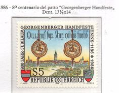 """PIA  -  AUSTRIA  -  1986  : 8° Centenario Del Patto """"Georgenberger Handfeste  (Yv 1684) - 1945-.... 2ª República"""