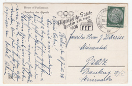 Olympic Games In Berlin 1936 Slogan Postmark On Berlin, Reichstag Old Postcard Travelled 1936 B170907 - Alemania