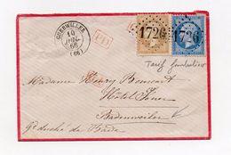 !!! PRIX FIXE : LETTRE DE GUEBWILLER DE 1866 POUR LE GRAND DUCHE DE BADE, TARIF FRONTALIER - Postmark Collection (Covers)