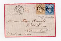 !!! PRIX FIXE : LETTRE DE GUEBWILLER DE 1866 POUR LE GRAND DUCHE DE BADE, TARIF FRONTALIER - 1849-1876: Période Classique