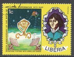 Liberia 1973. Scott #653 (U) Nicolaus Copernicus (1473-1543), Polish Astronomer, Satellite - Liberia