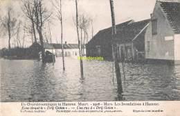 CPA DE OVERSTROOMINGEN TE HAMME MAART 1906 LES INONDATIONS A HAMME EENE STRAAT TE DRIJ GROTEN - Hamme