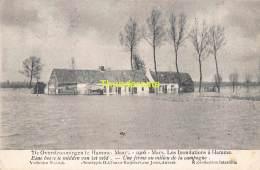 CPA DE OVERSTROOMINGEN TE HAMME MAART 1906 LES INONDATIONS A HAMME EENE HOEVE TE MIDDEN VAN HET VELD - Hamme