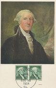 D31478 CARTE MAXIMUM CARD FD 1954 USA - GEORGE WASHINGTON CP ORIGINAL - George Washington
