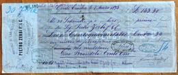 """MARCA DA BOLLO  SU CAMBIALE PIETRO ZERBI CENTO 1873  DI 143,30 """" In Merci Di Soddisfazione""""  CON FIRME AUTOGRAFE - Cambiali"""