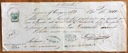 MARCA DA BOLLO  SU CAMBIALE LUGANO 1873  DI LIRE ITALIANE DUEMILA  DOCUMENTO ORIGINALE CON FIRME AUTOGRAFE - Cambiali