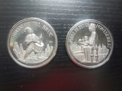 2 Medals, The Patron Of Catalonia,the End Of XIX-beginning Of XX Century, Silver, Cabinet Patina, Rarity - Spain