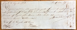 """CAMBIALE SECONDA  DI CAMBIO NAPOLI 1817 DI 200 FR.ARGENTO """"fuori Banco"""" CON AUTOGRAFO DI MICHE DE DOMINICI - Cambiali"""