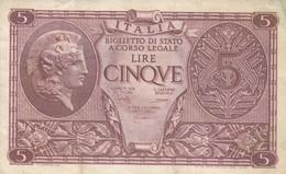 BANCONOTA 5 LIRE BIGLIETTO DI STATO ATENA ELMATA DECR 1944 - MB+++ - ORIGINALE 100% - LEGGI - [ 1] …-1946 : Kingdom