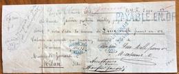 MARCA DA BOLLO SU CAMBIALE LYON 1873  DI 2000 FR. ORO  Documento Con Firme Autografe RIPARATO  Interessante - Cambiali